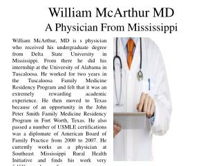 William McArthur MD - A Physician from Mississippi