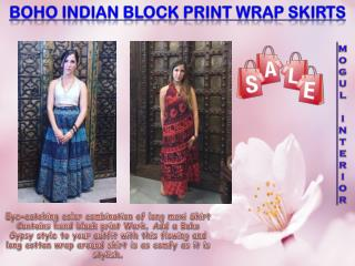 Boho Indian Block Print Wrap Skirts