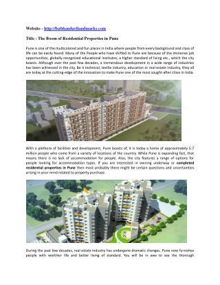 Bubhandarilandmarks - Completed Residential Properties in Pune