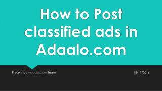How to Post classified ads in Adaalo on desktop