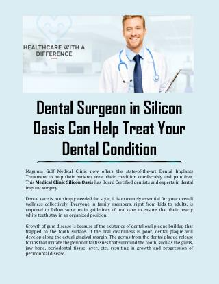 Dental Surgeon in Silicon Oasis