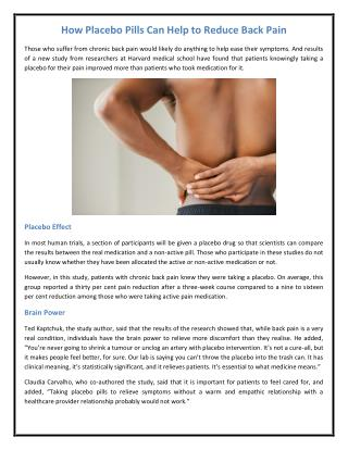 How Placebo Pills Can Help to Reduce Back Pain