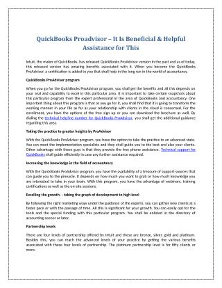 QuickBooks Proadvisor – It Is Beneficial & Helpful Assistance for This