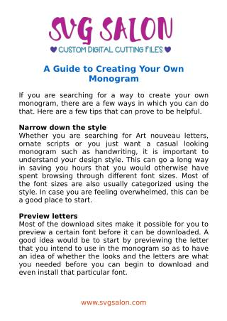 A Guide to Creating Your Own Monogram