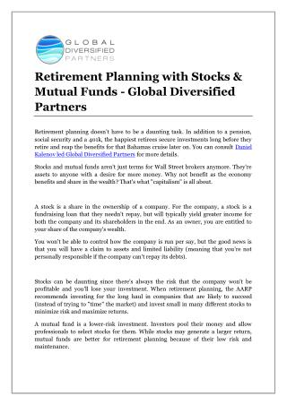 Retirement Planning with Stocks & Mutual Funds - Global Diversified Partners