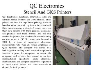 QC Electronics - Stencil and GKS Printers