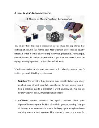 A Guide to Men's Fashion Accessories