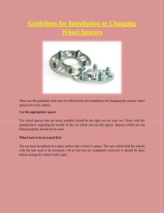 Guidelines for Installation or Changing Wheel Spacers