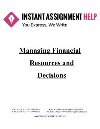 Sample Assignment on Managing Financial Resources and Decisions