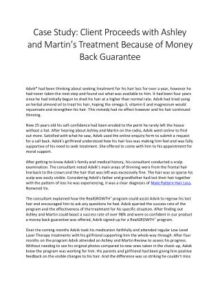 Client Proceeds with Ashley and Martin's Treatment Because of Money Back Guarantee