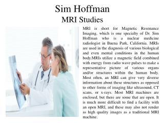 Sim Hoffman - MRI Studies