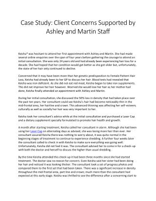 Client Concerns Supported by Ashley and Martin Staff