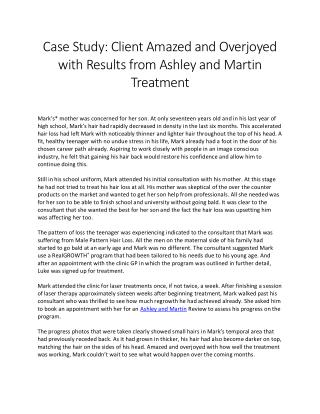 Client Amazed and Overjoyed with Results from Ashley and Martin Treatment