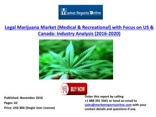 Legal Marijuana Market (Medical & Recreational) with Focus on US & Canada