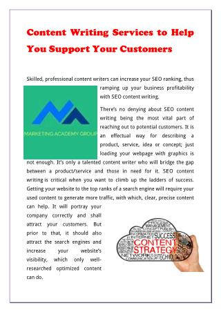 Content Writing Services to Help You Support Your Customers
