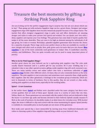 Treasure the best moments by gifting a Striking Pink Sapphire Ring