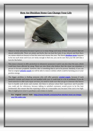 How An Obsidian Stone Can Change Your Life
