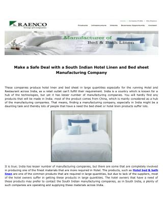 Make a Safe Deal with a South Indian Hotel Linen and Bed sheet Manufacturing Company
