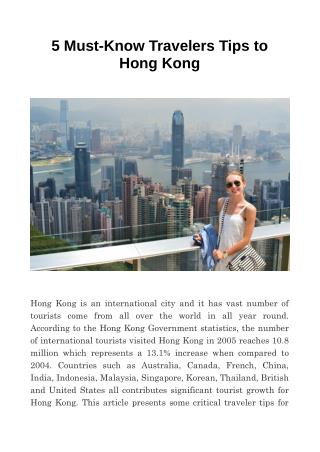 5 Must-Know Travelers Tips to Hong Kong