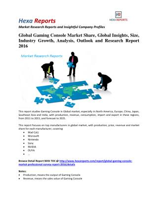Global Gaming Console Market Professional Survey Report 2016 By Hexa Reports