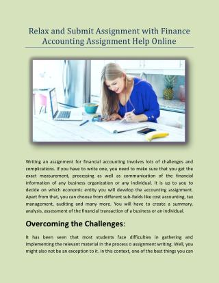 Relax And Submit Assignment With Finance Accounting Assignment Help Online
