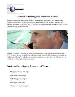 Investigative Resources of Texas