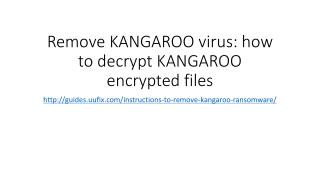 Remove kangaroo virus how to decrypt kangaroo encrypted files