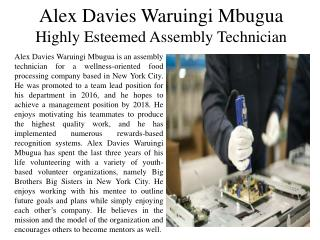 Alex Davies Waruingi Mbugua - Highly Esteemed Assembly Technician