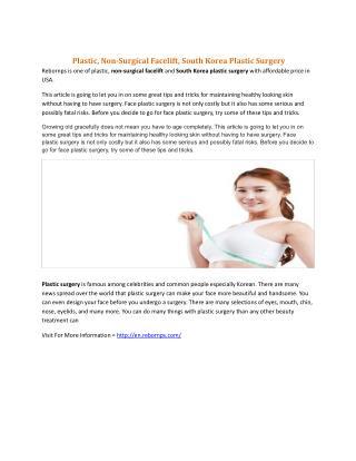Plastic, Non-Surgical Facelift, South Korea Plastic Surgery