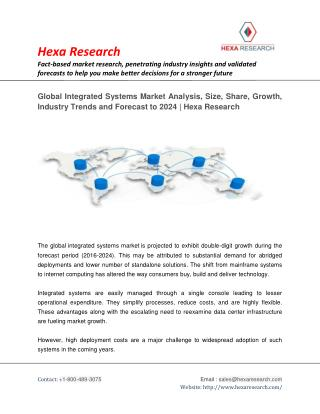Global Integrated Systems Market Analysis, Size, Share, Growth, Industry Trends and Forecast to 2024 | Hexa Research