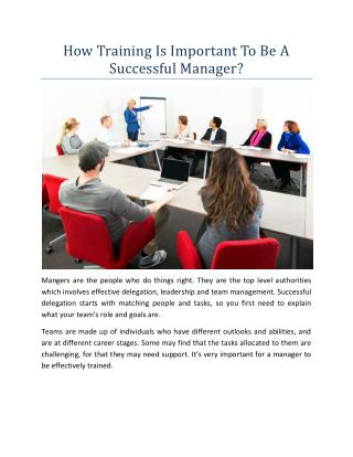 How Training Is Important To Be A Successful Manager?