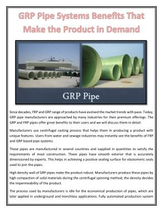 GRP Pipe Systems Benefits That Make the Product in Demand