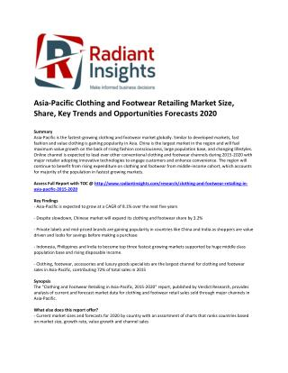 Asia-Pacific Clothing and Footwear Retailing Market Size, Share, Analysis, Key Trends and Opportunities Forecasts 2020