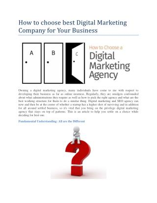 Factor while choosing best digital marketing company