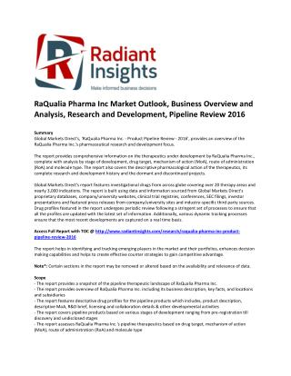 RaQualia Pharma Inc Market Research and Development, Pipeline Review 2016