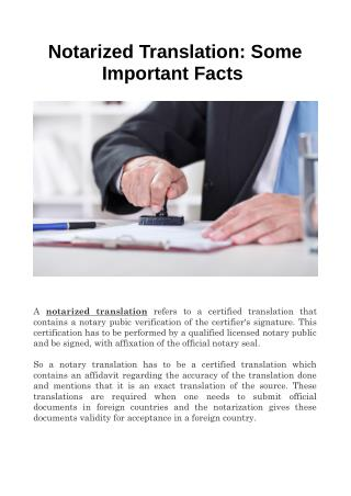 Notarized Translation: Some Important Facts