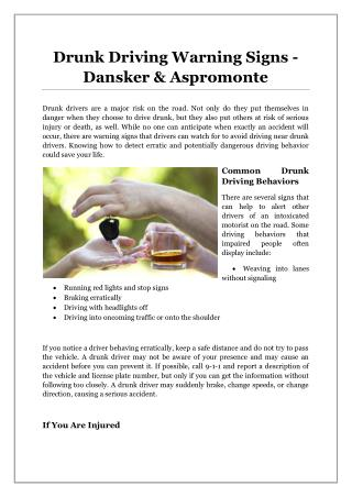Drunk Driving Warning Signs - Dansker & Aspromonte
