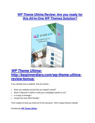 WP Theme Ultima Review-MEGA $22,400 Bonus & 65% DISCOUNT