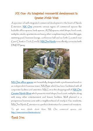 NX One Commercial Spaces in Noida Extension
