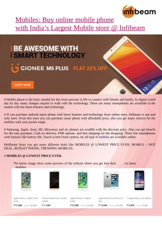 Mobiles: Buy online mobile phone with India's Largest Mobile store @ Infibeam