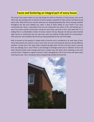 Fascia and Guttering an integral part of every house