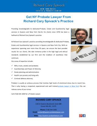 Get NY Probate Lawyer FromRichard Cary Spivack's Practice