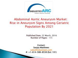 Abdominal Aortic Aneurysm Market: growing symptoms of aneurysm to drive the demand | IndustryARC