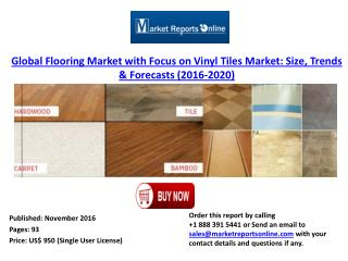 Global Flooring Market with Focus on Vinyl Tiles Market 2020 Forecasts