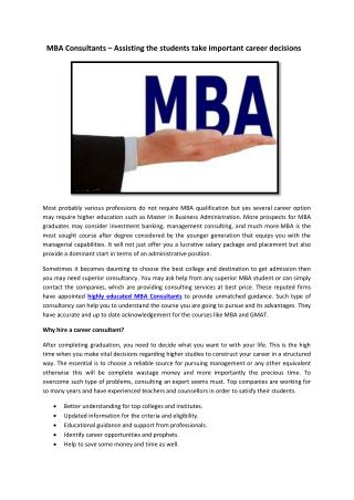 MBA Consultants – Assisting the students take important career decisions