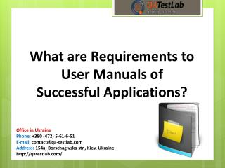 What are Requirements to User Manuals of Successful Applications?