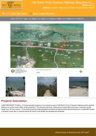 Cayman Land for sale - Old Robin Point Queens Highway Beachfront Land