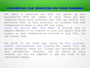 Black Car service,Airport Transportation  West Palm Beach FL