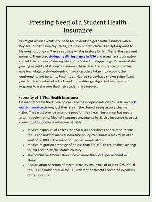 Pressing Need of a Student Health Insurance