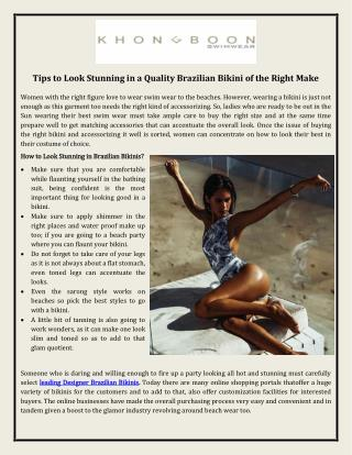 Tips to Look Stunning in a Quality Brazilian Bikini of the Right Make